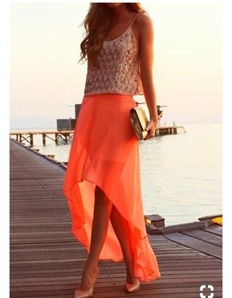 skirt tangerine high low sheer