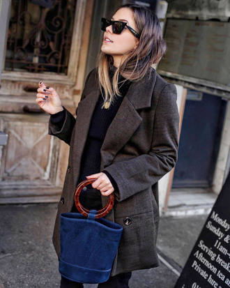 coat tumblr brown coat bag blue bag handbag sunglasses top black top