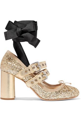 pumps lace gold leather shoes