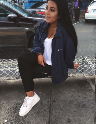 nike sneakers white sneakers nike jacket nike sportswear black leggings coat blue black ghetto jacket instagram baddies thug life navy windrunner windbreaker