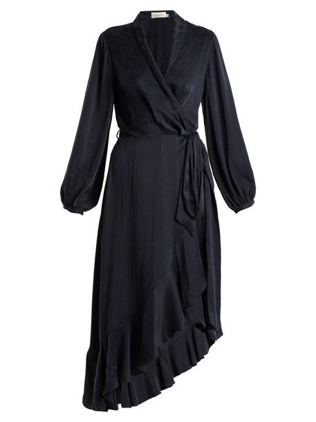 Zimmermann dress wrap dress silk navy
