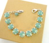 jewels,swarovski bracelet,pacifc opal bracelet,tennis bracelet,chunky bracelet,large stone bracelet,pacific opals,swarovski opal bracelet,bridesmaids gift,bridal jewelry,siggy jewelry,www.siggyjewelry.etsy.com,elegant bracelet,swarovski crystal,gifts for mom,gifts for her,holiday gift,bling,trendy jewelry,trendy,mint gren jewelry,sabika inspired,designer jewelry,affordable bling,swarovski,mint