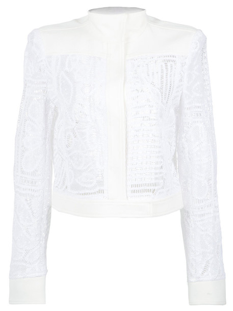 MARTHA MEDEIROS jacket bomber jacket women lace white silk