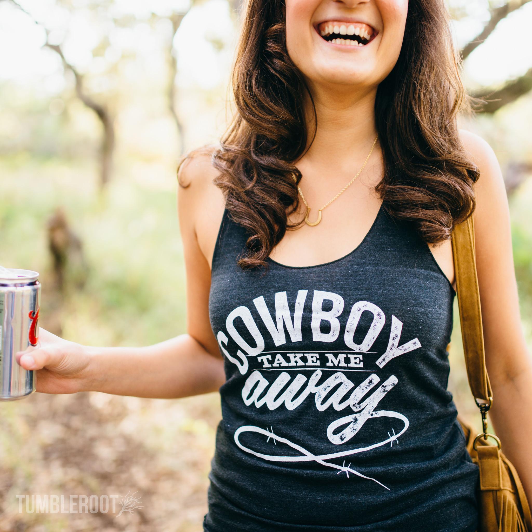 Cowboy Take Me Away | Women's Tri-Black Racerback Tank Top