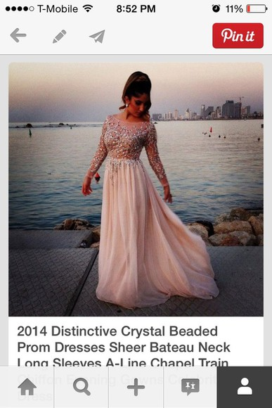 crystal dress prom crystal beaded scoop dress long sleeves pink light brown tan long dress long floor dress sheer beaded prom dress elie saab