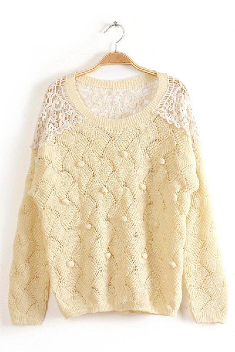 Wool Lace Stitching Hemp flowers Round Neck Long Sleeve Knitwear,Cheap in Wendybox.com