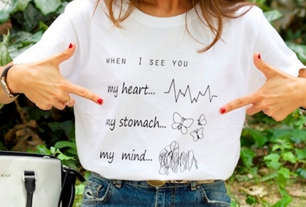 t-shirt when i see you stomach mind heart