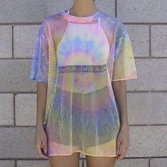 t-shirt shirt rainbow mesh see through outfit baddies