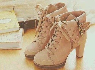 shoes brown tan cute boots heels buckle