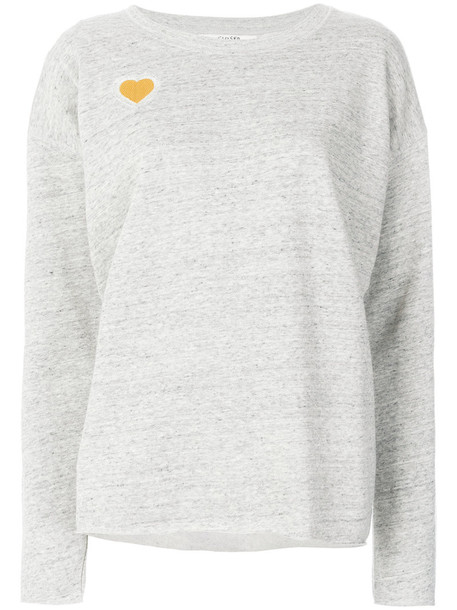 sweater heart women cotton grey