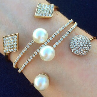 jewels jewel cult jewelry pearl bracelets stacked bracelets crystal pearl bracelet bling