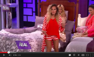 shorts red adrienne bailon blonde hair ombre the real sexy matching set stripes pajamas pj pants