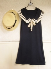 dress,sailor dress,sailor,clothes,hat,straw hat