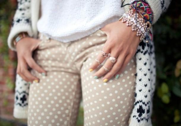 pants nude printed pants polka dots beige pants