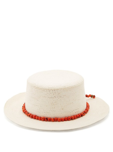 SENSI STUDIO Hippie bead-embellished woven-straw hat in white