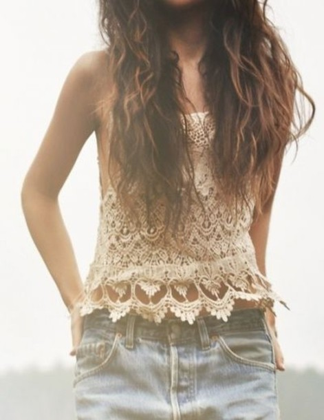 Tank top: crochet, crop tops, lace, summer, shorts, cream, indie ...