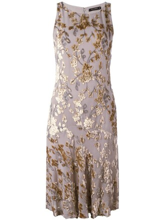 dress shift dress embroidered women silk grey