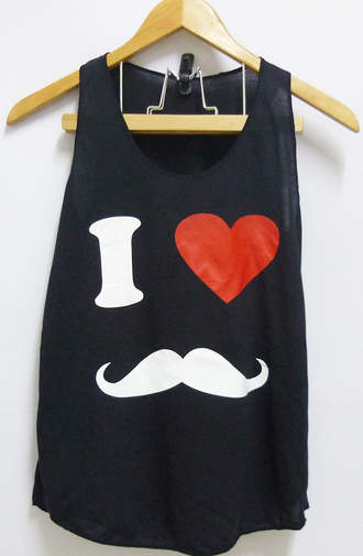 moustache love tank top singlet moustache heart tank top women tank top