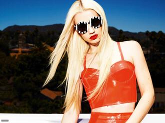 sunglasses red round sunglasses stripes iggy azalea celebrity style two-piece