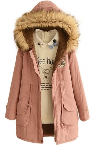 coat baby pink fur hood long coat