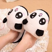 shoes,slippers,panda,fashion,style,trendy,cute,kawaii,black and white,boogzel