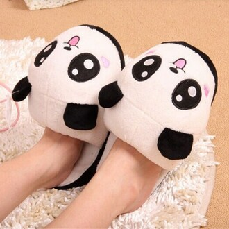 shoes slippers panda fashion style trendy cute kawaii black and white boogzel