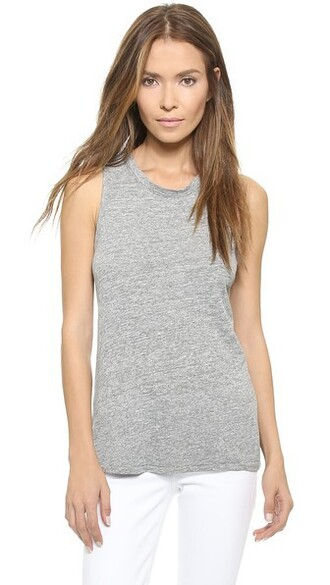 tank top top grey heather grey