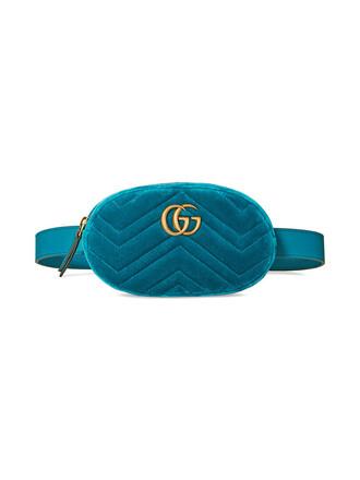 belt bag women bag leather blue velvet