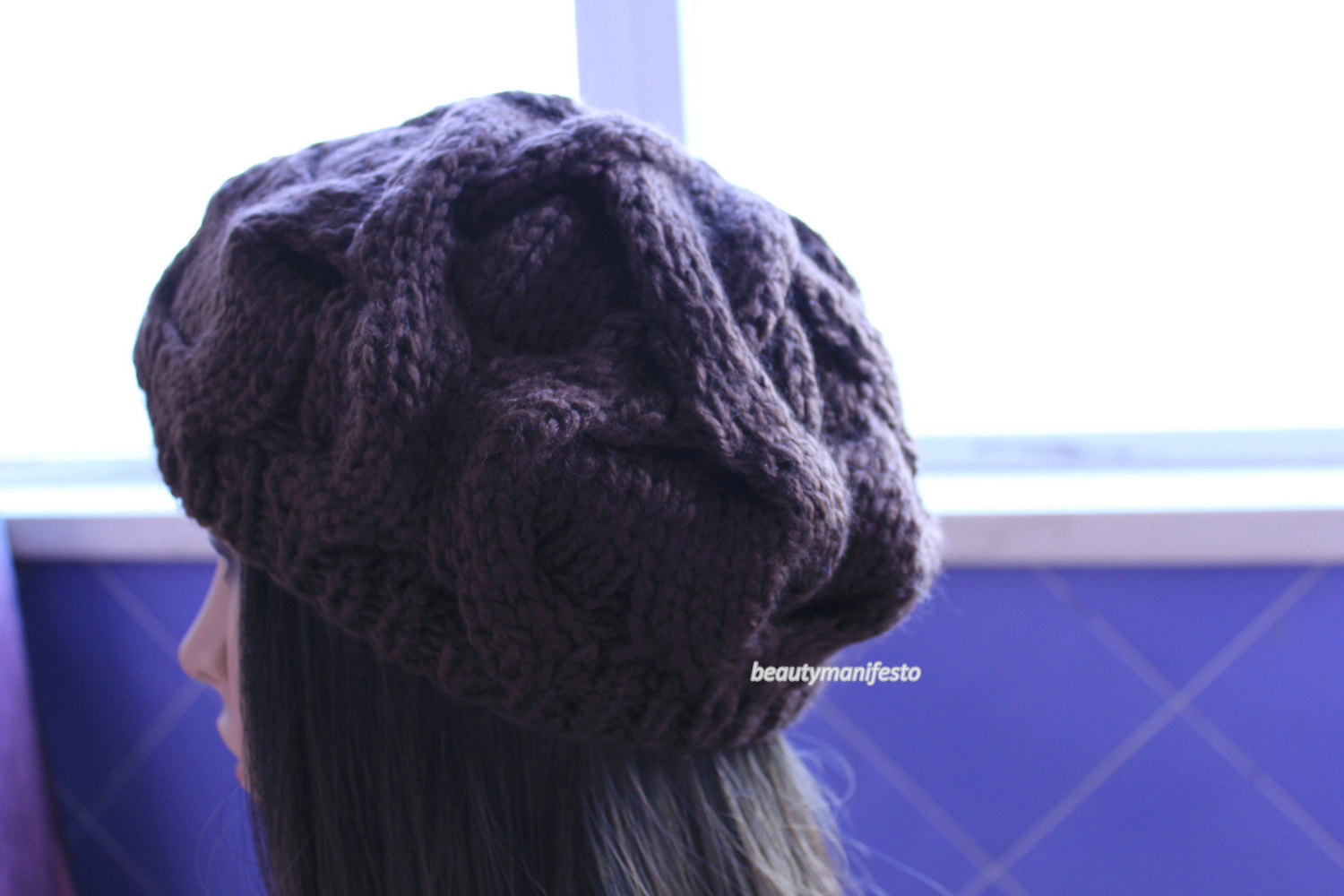Oversized hat in barley brown chocolate