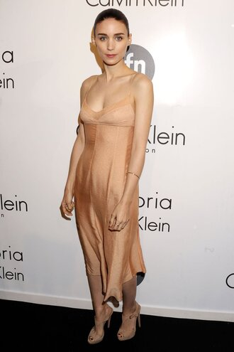 dress calvin klein dress calvin klein nude dress slip dress silk dress midi dress high heel sandals sandals nude sandals rooney mara celebrity red carpet dress nude slip dress
