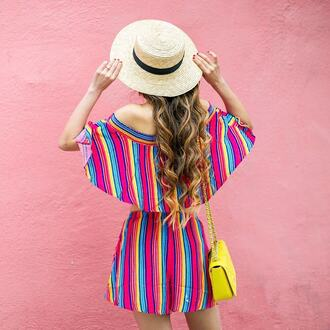 top hat tumblr crop tops stripes striped top matching set shorts bag colorful multicolor sun hat
