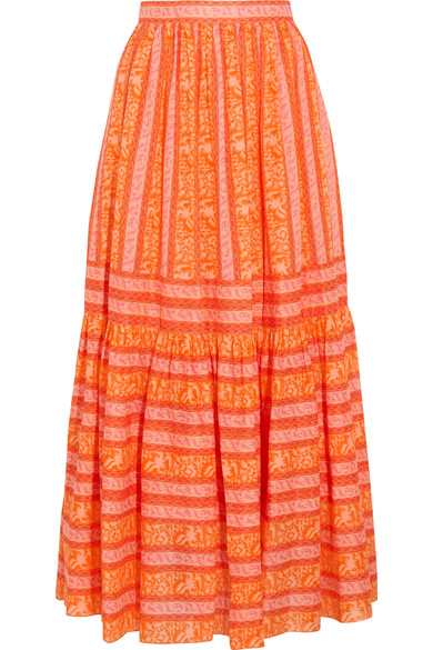 Tory Burch - Tiered printed cotton-poplin maxi skirt