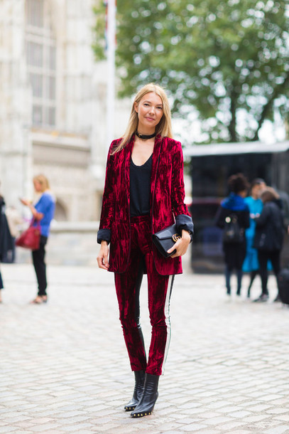 jacket fashion week street style fashion week 2016 fashion week london fashion week 2016 velvet velvet blazer blazer red blazer velvet pants pants red pants boots black boots pointed boots bag black bag choker necklace black choker fall outfits streetstyle top black top