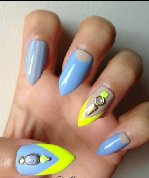 Nail polish: neon green, baby blue, nails, spiked nails - Wheretoget
