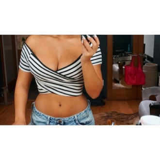 top crop tops off the shoulder top stripes outfit