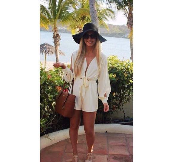 hat purse white romper tumblr outfit style classy shoes