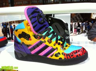 nicki minaj adidas colorful shoes high top sneakers sneakers red purple yellow pink black light blue