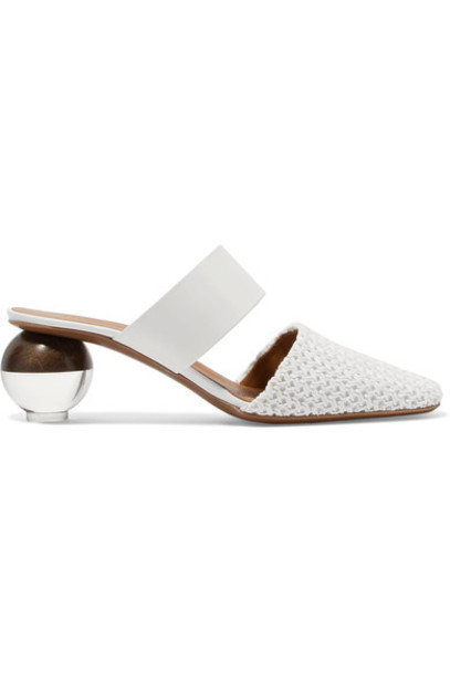 Neous mules leather white crochet shoes