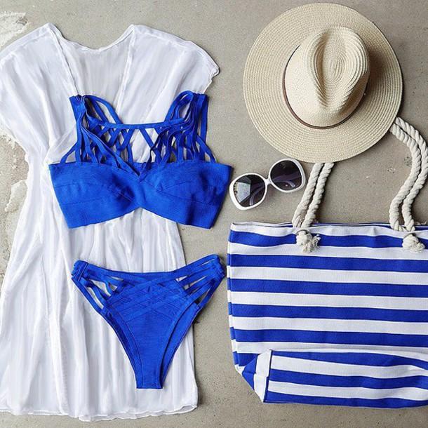 ce6b3cd22eb22 swimwear swimwear bikini swimwear royal blue beach stripes hat sunglasses  holidays gojane two-piece cover