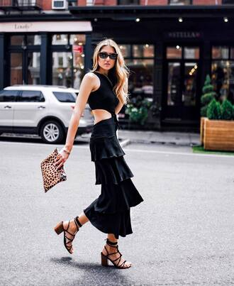 dress tumblr maxi dress black dress ruffle dress ruffle cut-out sandals sandal heels high heel sandals lace up sandals clutch sunglasses streetstyle bag shoes