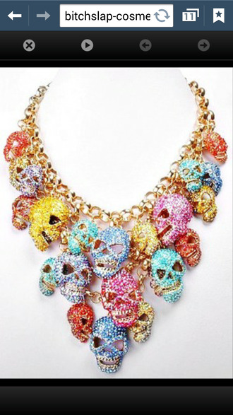jewels skull necklace skull necklace gold chain yellow pink blue red sparkle gem gems gemstone rhinestones multicolor jewellry hot