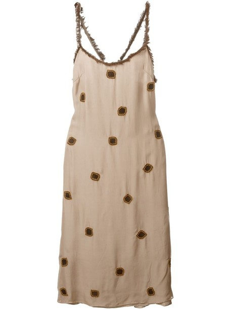 JUPE BY JACKIE dress embroidered dress embroidered women nude silk