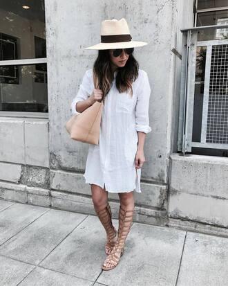 shirt tumblr white shirt mini dress shirt dress sandals flat sandals gladiators knee high gladiator sandals felt hat hat bag tote bag shoes