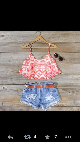 shorts tank top crop tops high waisted short aztec tribal pattern coral