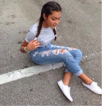 jeans boyfriend jeans light blue ripped