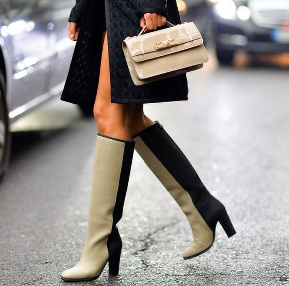 boots beige beige shoes knee high boots heeled boots heeled two tone two-toned black black boots