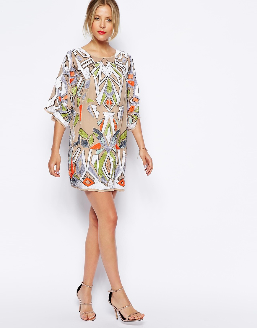 ASOS Premium Aztec Embellished Tunic Dress at asos.com