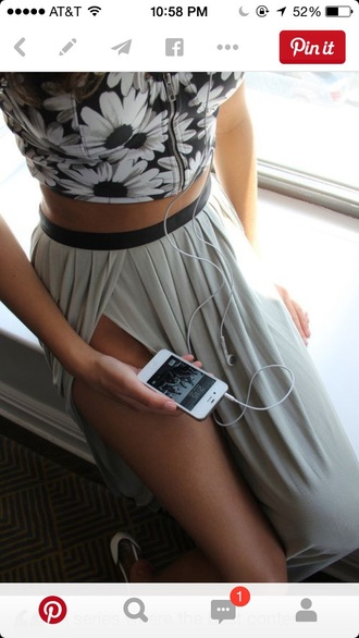 skirt gray skirt long skirt black band ruffles