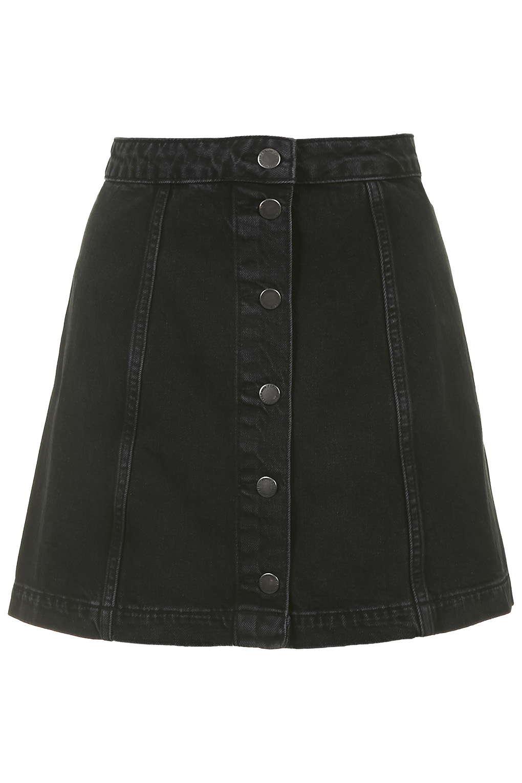 Denim Button Front A-Line Skirt - Denim - Clothing