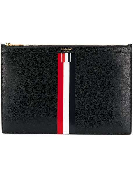 Thom Browne women clutch stripes leather black bag